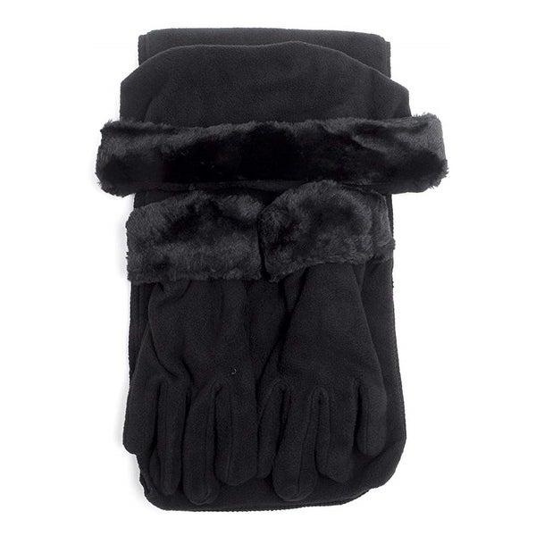 Women's Solid Fleece 3-Piece gloves scarf Hat Winter Set. Opens flyout.