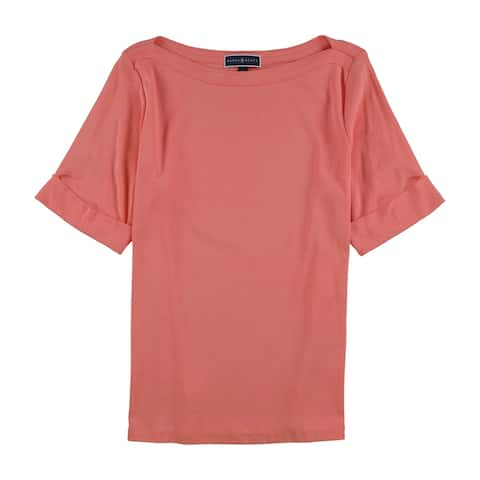 Karen Scott Womens Elbow Basic T-Shirt, Orange, 1X
