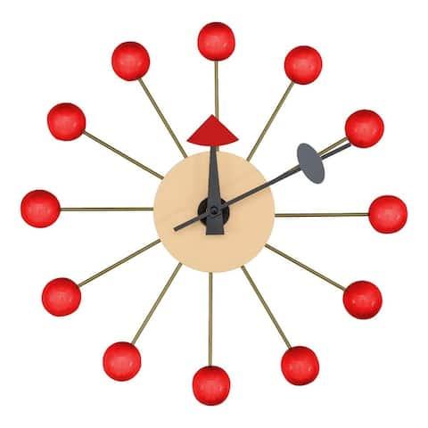 LeisureMod Modern Round Colorful Balls Silent Non-Ticking Wall Clock