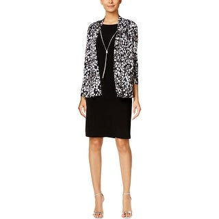 Jessica Howard Womens Petites Dress With Cardigan Sequined Printed - 6P