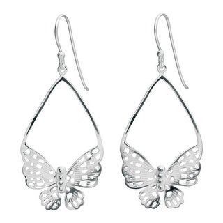 Women's Butterfly Lace Sterling Earrings - Hook Close - Silver - 2""