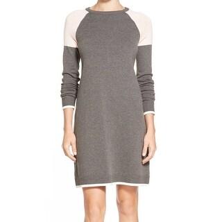 Eliza J NEW Gray Peach Womens Size XL Colorblock Crew Neck Sweater Dress