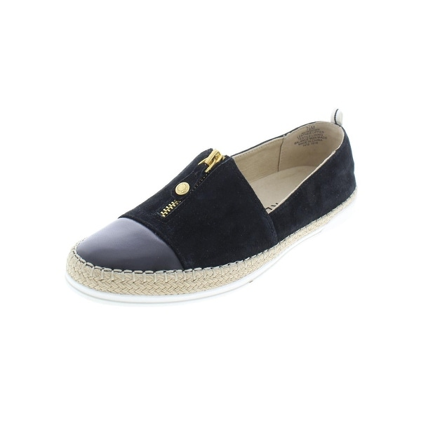 Anne Klein Womens Zip Down Loafers Contrast Trim Casual