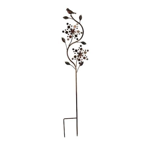 Bronze Finish Metal Art Flower Double Spinner Wind Sculpture Garden Stake, Circles - 48.25 X 9 X 3 inches