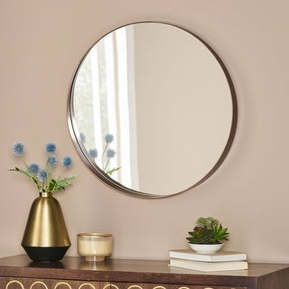 Link to Hudspeth Contemporary Round Wall Mirror by Christopher Knight Home Similar Items in Mirrors