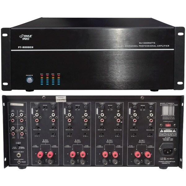 PYLE HOME PT8000CH 8-Channel, 8,000-Watt Stereo/Mono Amp