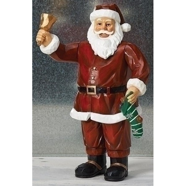"11.25"" Wind Up Musical Moving Christmas Santa Claus Ringing Bell Figurine - RED"