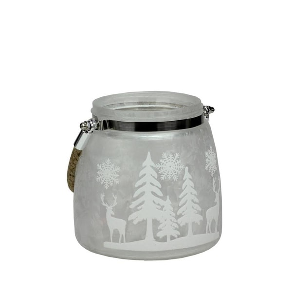 "5.5"" Silver White Iced Winter Scene Decorative Christmas Pillar Candle Holder Lantern with Handle"