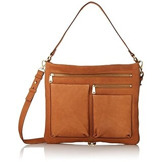 Fossil Womens Piper Leather Convertible Crossbody Handbag - Camel - Large