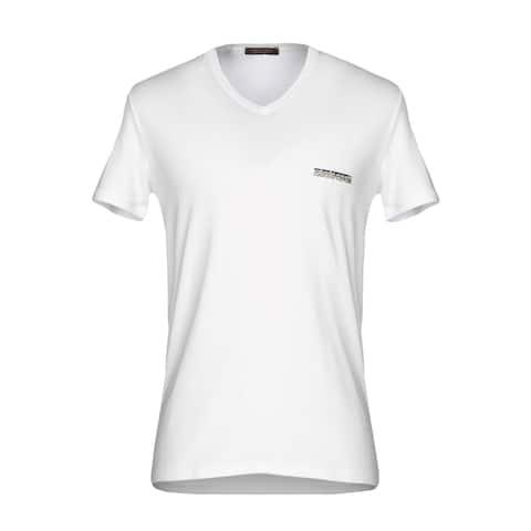 Roberto Cavalli Men White Solid Logo Jersey Undershirt T Shirt V Neck~RTL$350