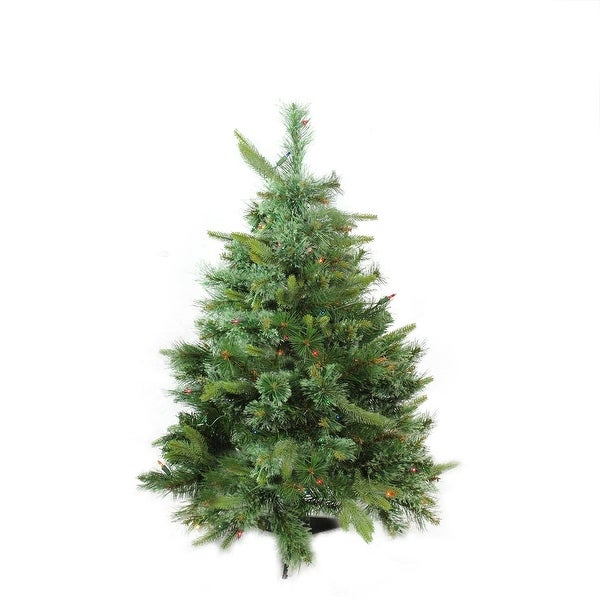 """3' x 29"""" Pre-Lit Cashmere Mixed Pine Full Artificial Christmas Tree - Multi Dura Lights - green"""