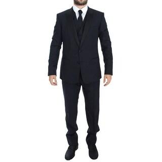 Dolce & Gabbana Blue Wool Silk 3 Piece Slim Suit Tuxedo - it44-xs
