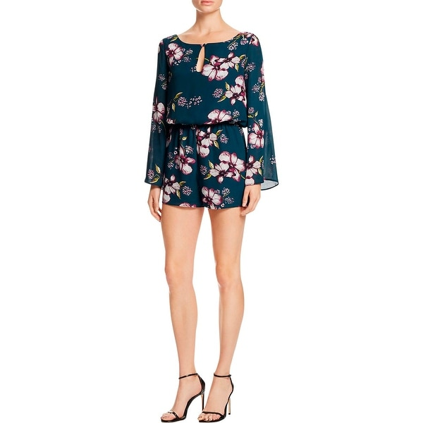fdd607a08f9 Shop Cupcakes and Cashmere Womens Romper Floral Print Angel Sleeves - On  Sale - Free Shipping On Orders Over  45 - Overstock - 18612515