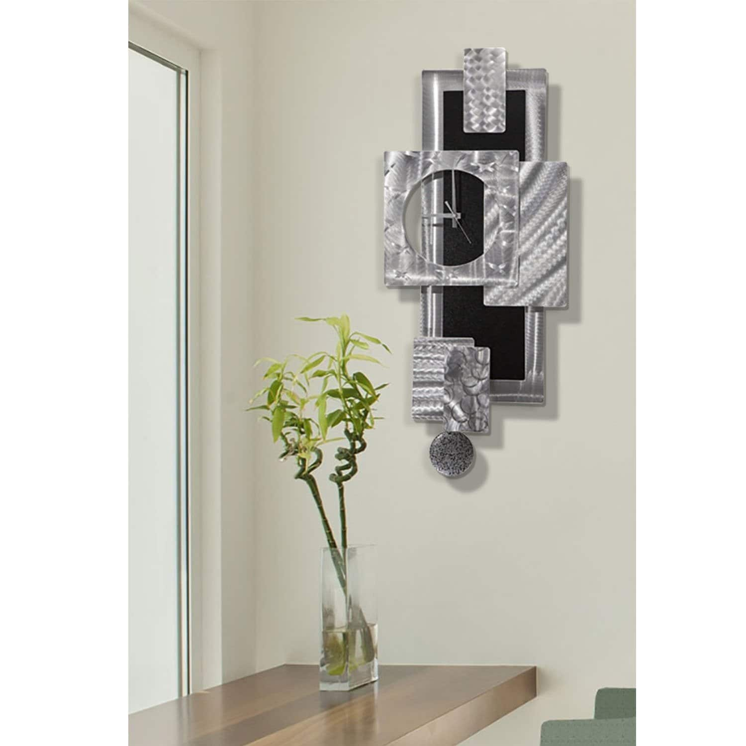 Statements2000 Large Metal Wall Art Clock Pendulum Modern Abstract Silver Black Sculpture Decor By Jon Allen Titan Clock Overstock 27085708