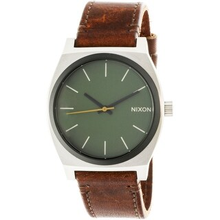 Nixon Time Teller A0452334 Silver Leather Japanese Quartz Diving Watch