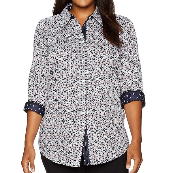 e9361c5a Shop Foxcroft Blue Printed Cuffed Women's Size 8 Button Down Shirt - On Sale  - Free Shipping On Orders Over $45 - Overstock - 26911317