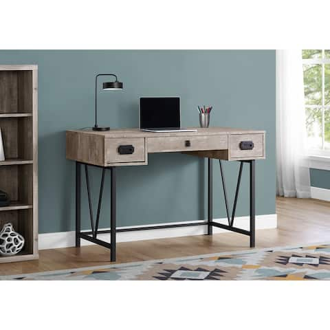 Monarch 7414 Taupe Reclaimed Wood Black Metal 48nch Computer Desk