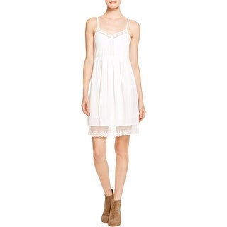 Aqua Womens Casual Dress Crochet-Inset Sleeveless