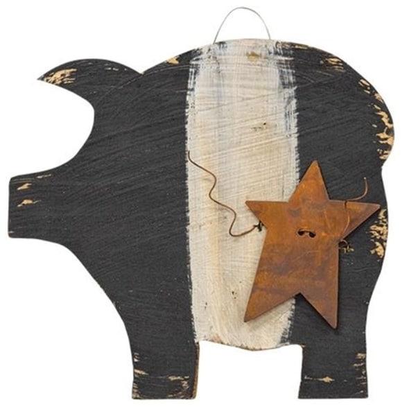 "Hanging Black & White Pig w/Rusty Star 7"""
