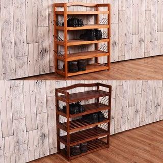 Costway 5-Tier Wooden Shoe Rack Shelf Storage Organizer Entryway Furni 2 Color In Random