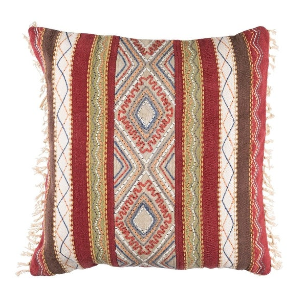 """30"""" Poppy Red and Beige Brown Decorative Throw Pillow"""