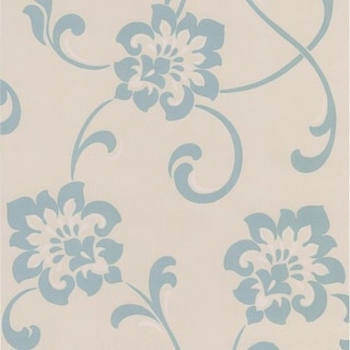 Brewster DL30648 Sharon Aqua Jacobean Floral Wallpaper