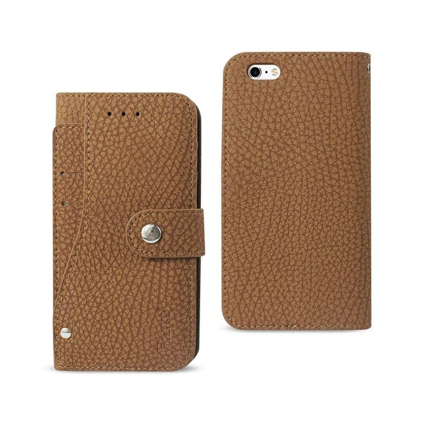 REIKO IPHONE 6/ 6S WALLET CASE WITH SLIDE OUT POCKET AND FOLD STAND IN BROWN