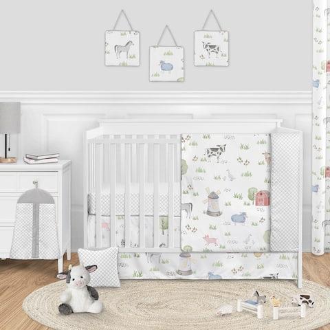 Farm Animals Collection Boy or Girl 11-piece Nursery Crib Bedding Set - Watercolor Farmhouse Lattice Horse Cow Sheep Pig