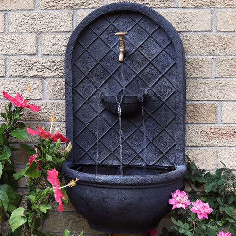 """Messina Solar-Only Outdoor Wall Water Fountain - 26"""" - Lead Finish"""