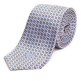 Versace Men's Slim Silk Medusa Patterned Tie Blue White Orange - no size
