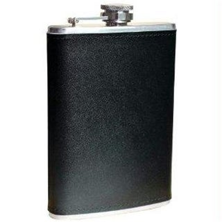 8oz Stainless Steel Flask With Solid Genuine Leather Wrap