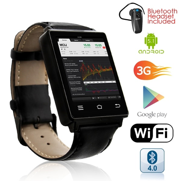 Indigi® NEW 2017 Android 5.1 OS Watch & 3G Unlocked Phone + WiFi + Bluetooth 4.0 + GPS + Google Play + Bluetooth Bundle