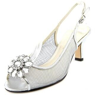 Caparros Savanna Women Peep-Toe Synthetic Silver Slingback Heel