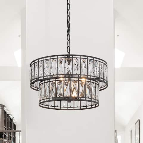 """Cirstal Modern 4-light Crystal 2-tiered Chandelier Glam Pendant for Dining/ Living Room - D15.5""""xH10.5"""""""
