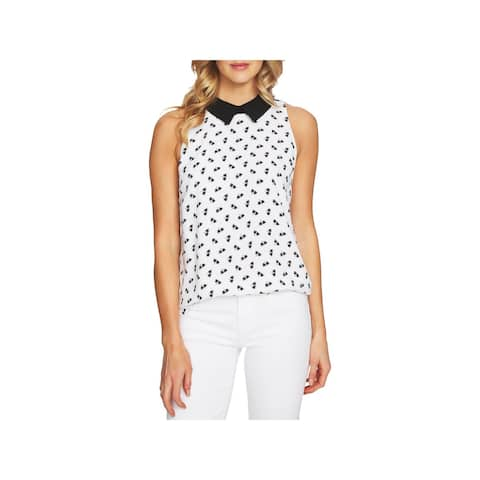 CeCe Womens Palm Blouse Printed Collared