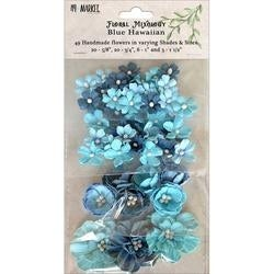 Blue Hawaiian - Floral Mixology Paper Flowers Assorted Sizes 49/Pkg