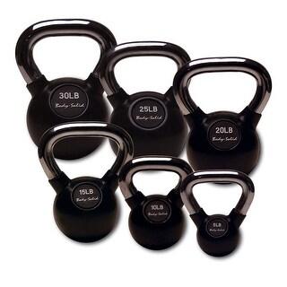 Body-Solid Chrome Handle, Rubberized Kettlebell Set 5-30lb Singles - Black