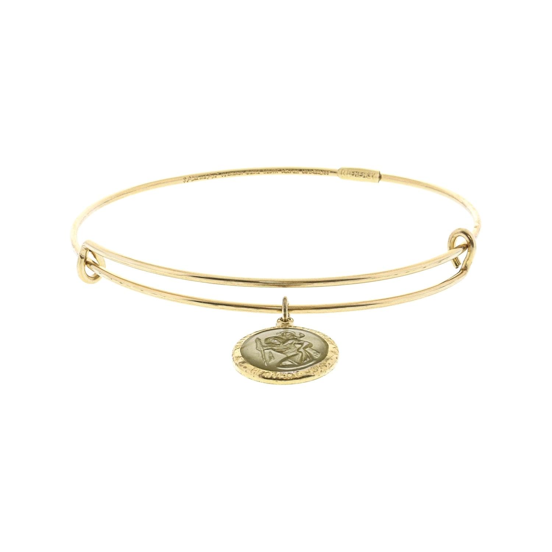 7ef657445af Shop Alex And Ani Women's Two-Tone Saint Christopher Charm Bangle Bracelet  - 7