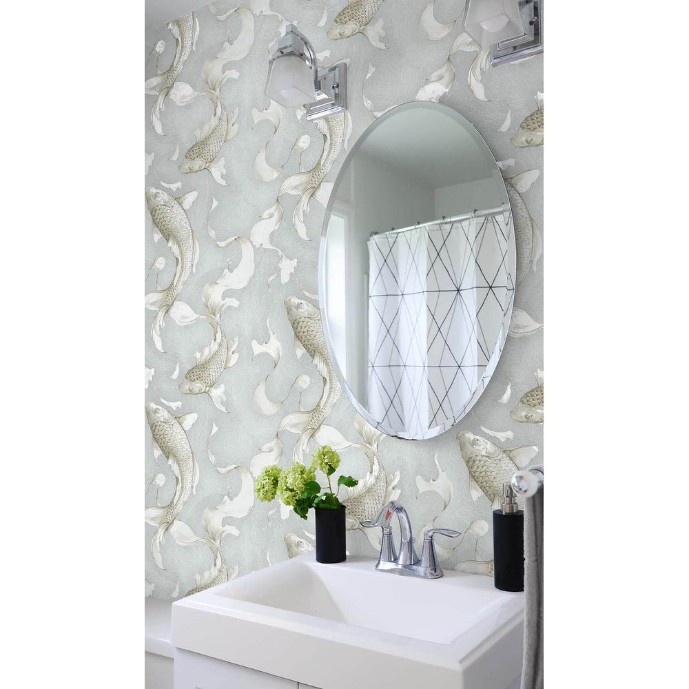 Shop Nextwall Metallic Koi Fish Peel And Stick Wallpaper 20 5 In W X 18 Ft L Overstock 31452010