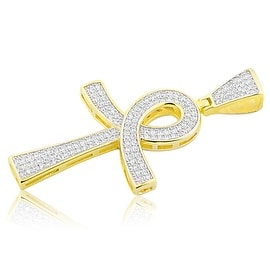 Yellow Gold-Tone Egyptian Cross Charm mens 51mm Tall With Pave Set CZ By MidwestJewellery