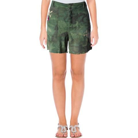 Free People Womens Shorts Camouflage Frayed Hem