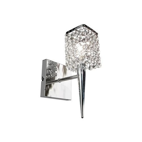 Bazz Lighting M3020DC Glam Series Single-Light Small Wall Sconce, Finished in Chrome with Glass Crystals