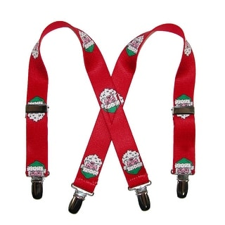 CTM® Infants' Christmas Santa Clause Face Holiday Suspenders - Red - One Size