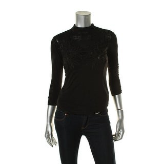 Free People Womens Mesh Embroidered Casual Top