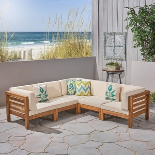 Link to Oana Outdoor 5-seat V-shaped Acacia Sectional Sofa Set by Christopher Knight Home Similar Items in Outdoor Sofas