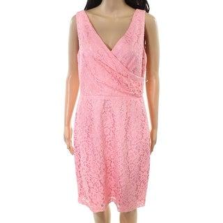 Donna Morgan Cherry Womens V-Neck Lace Sheath Dress
