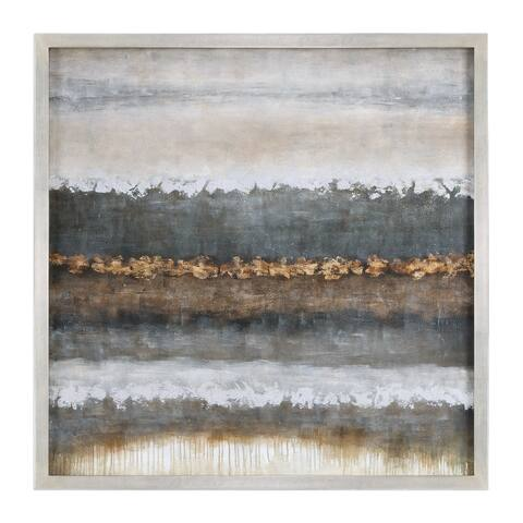 """Uttermost 35352 Layers 50"""" Square """"Landscape"""" Framed Hand Painted Wall Art on Canvas - Neutral Layers / Silver Champagne Frame"""