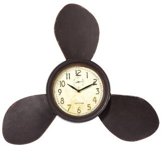 Dark Brown and Yellow Metallic Rusted Designed Propeller Wall Clock 23""