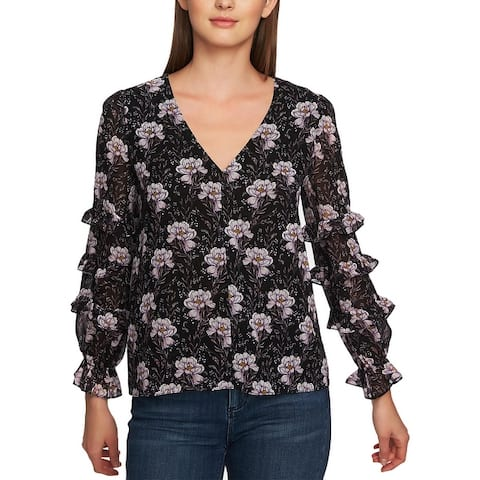 1.State Womens Bloomsbury Blouse Floral Ruffled