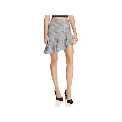Endless Rose Womens A-Line Skirt Houndstooth Plaid